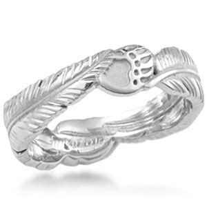 Native American Claw and Feather Wedding Band