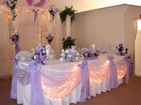 Lavender and white head table decor   wedding reception