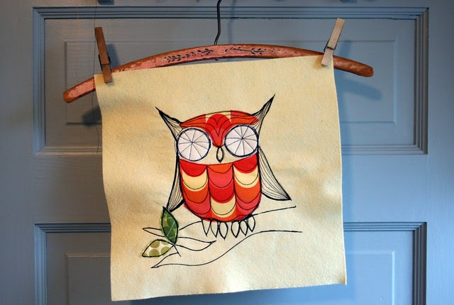 Sketch Stitch Owl Pillow #3