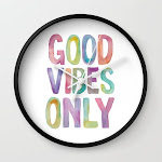 Good Vibes Only Watercolor Rainbow Typography Poster Inspirational Childrens Room Nursery Wall Clock by The Motivated Type - Black - White