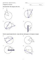 Angles And Segments In Circles Worksheet