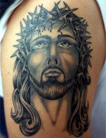 Wistful Jesus Tattoo On Shoulder