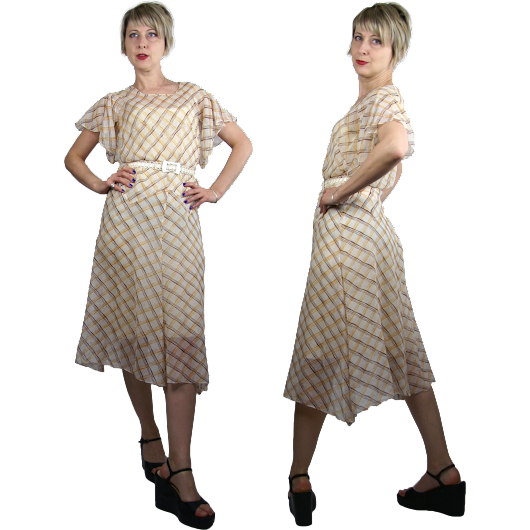 1930s Plaid Bias Cut Cotton Organdy Day Dress XS/S from Noble Vintage Clothier at Ruby Lane