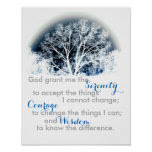 Serenity Prayer poster blue and white nature art
