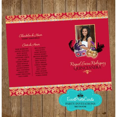 Red Gold Masquerade Program quinceanera program sample