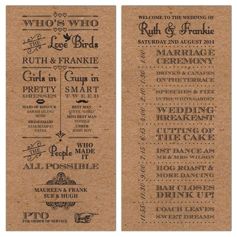50 Personalised Rustic Vintage Brown Wedding Day Order of