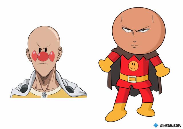 Anpanman And Saitama Face Swap Onepunchman