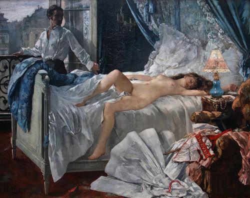 """Henri Gervex - """"Rolla"""" (1878, óleo sobre lienzo, 175 x 220 cm, Musée de Beaux-Arts, Bordeaux)  Este famoso cuadro de Henri Gervex está inspirado en un poema de Alfred de Musset titulado """"Rolla"""" (1833). Los que sepan francés pueden leerlo aquí: http://is.gd/cqvMKl (no he conseguido encontrar una versión traducida). De todas formas, para explicar el cuadro voy a tener que destriparos el argumento. Ese hombre tan atractivo que vemos junto a la ventana es Jacques Rolla, un joven adinerado que llega a París dispuesto a pasárselo en grande y que, tras unos años de vicio y desenfreno, acaba perdiendo hasta la camisa. Al enterarse de que está arruinado, decide acabar con su vida y pasa su última noche con Marie, una prostituta adolescente que se ve obligada a vender sus favores para poder dar de comer a su familia. Al amanecer, Rolla se asoma a la ventana para ver la calle por última vez y luego se gira para contemplar a Marie, que duerme plácidamente en el lecho (es la escena que ha pintado Gervex). Minutos más tarde, se beberá un frasquito de veneno y se tumbará en la cama para morir en brazos de la chica (como si no tuviese bastante, la pobre). Cuando pintó esta obra, Gervex ya era relativamente famoso. Con tan solo veintiseis años, había ganado una medalla en el Salón de París por uno de sus cuadros. Los artistas que recibían un galardón, tenían permiso para seguir exponiendo en el Salón año tras año, sin que el jurado pudiese vetar sus obras. Sin embargo, cuando Gervex intentó exponer """"Rolla"""" en 1878, la organización rechazó el lienzo por considerarlo """"indecente"""". No fue por el desnudo, que no se diferencia en nada del típico desnudo academicista, sino por la ropa que vemos sobre el sillón y a los pies de la cama: un zapato, un vestido de mujer, una liga rosa, un llamativo corsé rojo y blanco, la chistera de Rolla y su bastón (símbolo fálico de manual). Estas ropas, esparcidas con descuido, eran testimonio evidente de la pasión desenfrenada e ilegítima de la noche ante"""