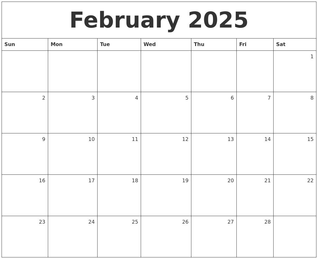 february 2025 monthly calendar