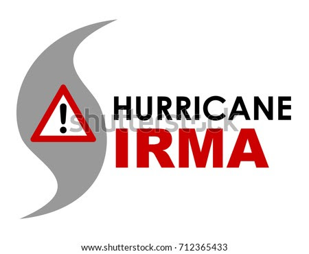 An illustration of Hurricane Irma with warning sign. Hurricane Irma is a storm that formed in September 2017 in the Caribbean, creating a path of destruction and approached Florida in the US.