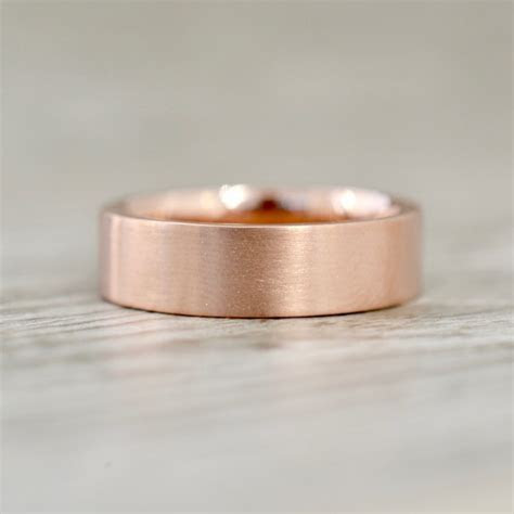 6mm Flat Edge Satin Finish Wedding Band in Rose
