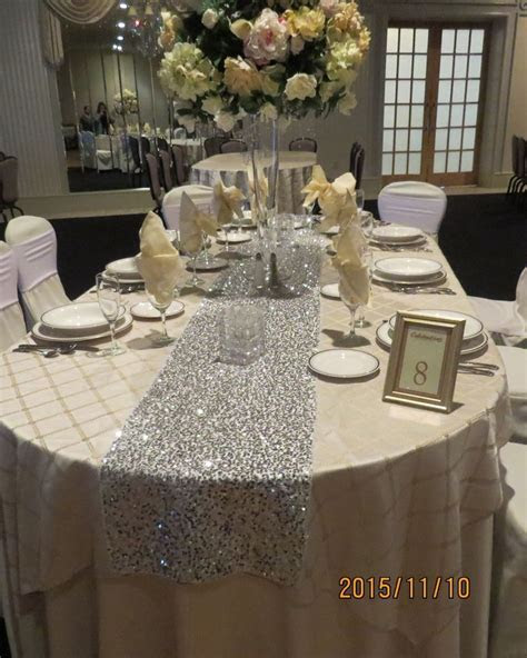 """Silver Bling Sequins Table runner, 12"""" by 108"""" , New"""
