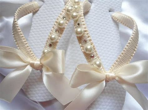Flower Girl Ivory Shoes, Decorated Flip Flops For Girls