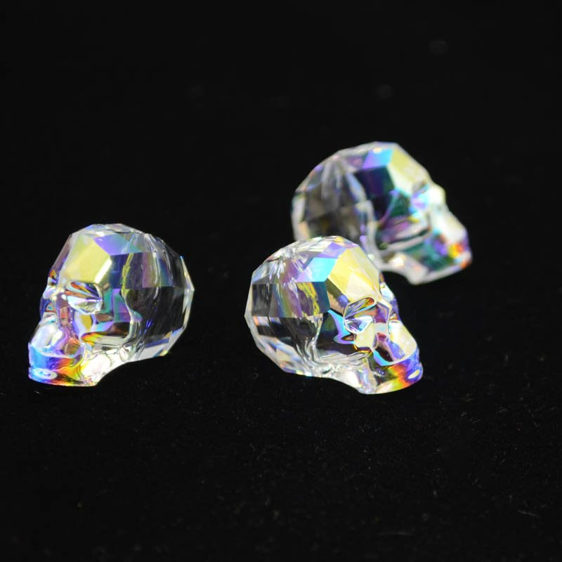 2775750s38824 Swarovski Bead - 19 mm Faceted Skull (5750) - Crystal AB (1)