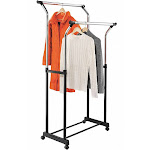 Honey-can-do Flared Double Garment Rack, Locking Casters, Steel Steel GAR-01119