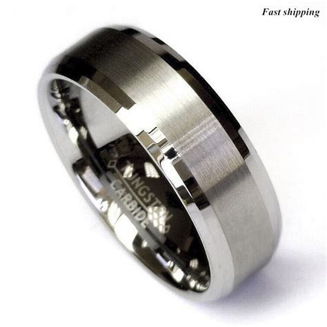 Titanium Color Two Tone Tungsten Carbide Wedding Band Men