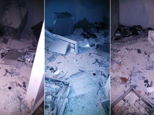 Prédio ficou parcialmente destruído com a força da explosão (Foto: Divulgação/PM)