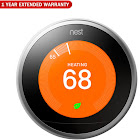 Nest (T3007ES) Learning Thermostat 3rd Gen - Stainless Steel + 1 Year Extended Warranty