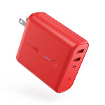 Anker PowerCore Fusion 5000, Portable Charger 5000mAh 2-in-1 with Dual USB Wall Charger, Foldable AC Plug and PowerIQ, Battery Pack Power Bank - Red