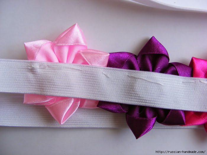 Headband hair with flowers of satin ribbons.  Master class (23) (700x525, 263Kb)