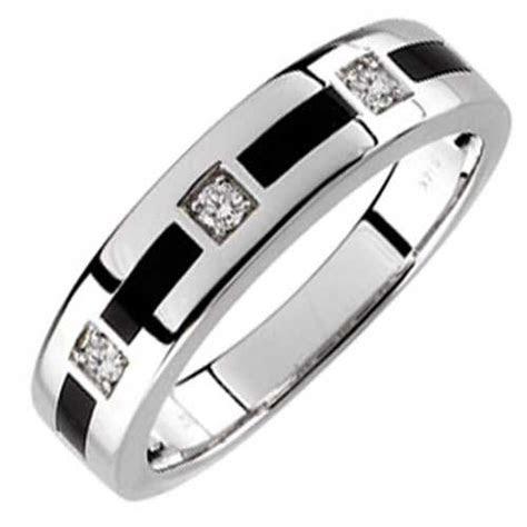 14kt White Gold Arty Onyx and Diamond Men's Wedding Band