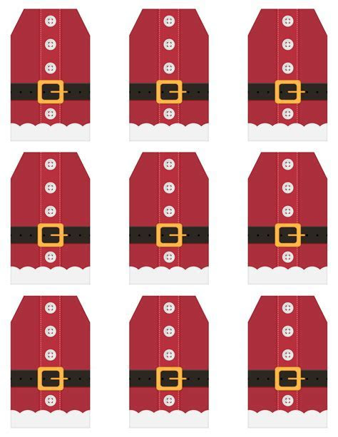 Santa Cute Free Printable Tags and Labels in Different