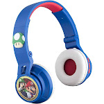 Mario Wireless Bluetooth Portable Kids Headphones with Microphone, Volume Reduced to Protect Hearing Rechargeable Battery, Adjustable Kids Headband...