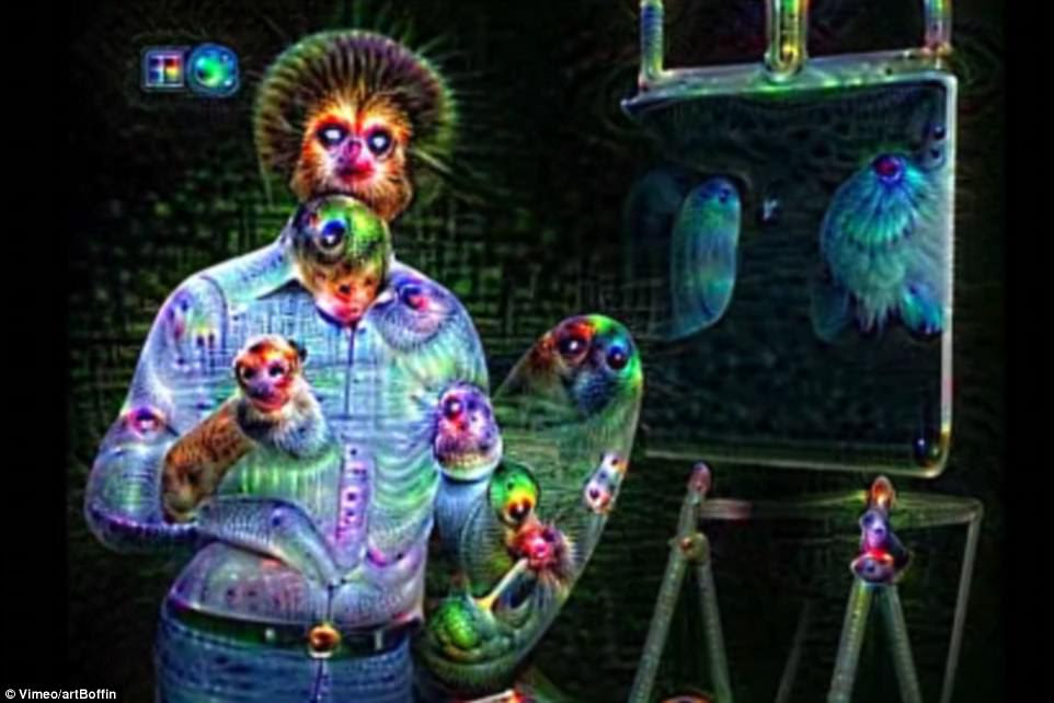 Google has brought the late artist Bob Ross back to life, but as a monster-faced figure in a 'nightmare' world. An engineer filtered an episode of Ross's PBS television show 'The Joy of Painting' through the artificial neural network DeepDream, which can 'see' objects and animals that are not really there