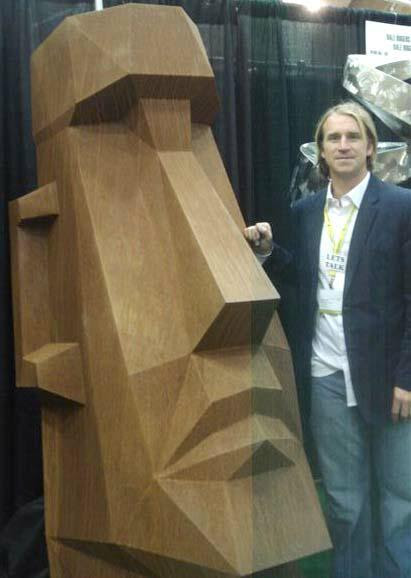 Easter Island Metal Sculpture with Artist Dale Rogers