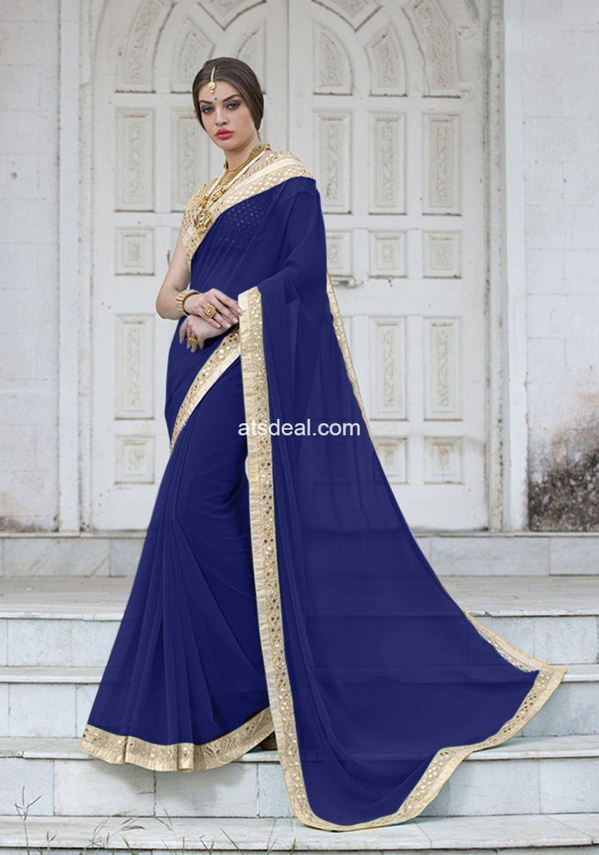 blue-chiffon-georgette-saree