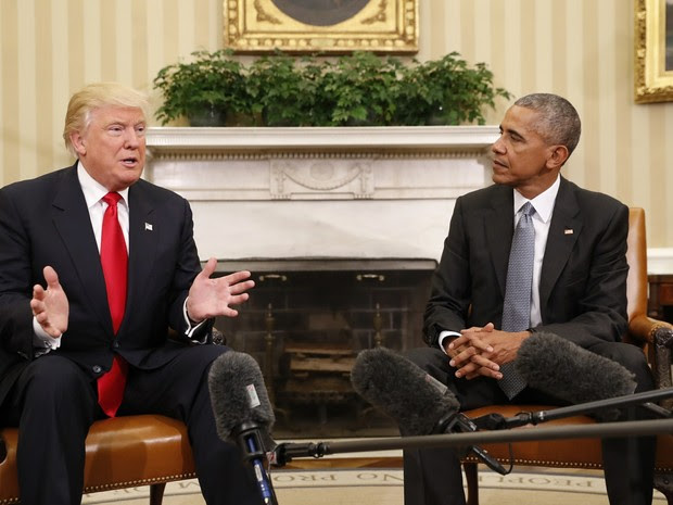 Donald Trump e Barack Obama se reúnem na Casa Branca (Foto: AP Photo/Pablo Martinez Monsivais)