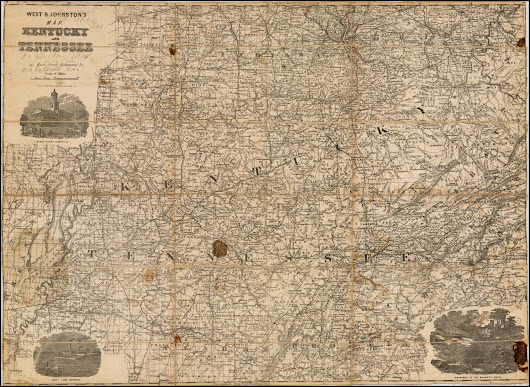 Rare Confederate map of Kentucky and Tennessee