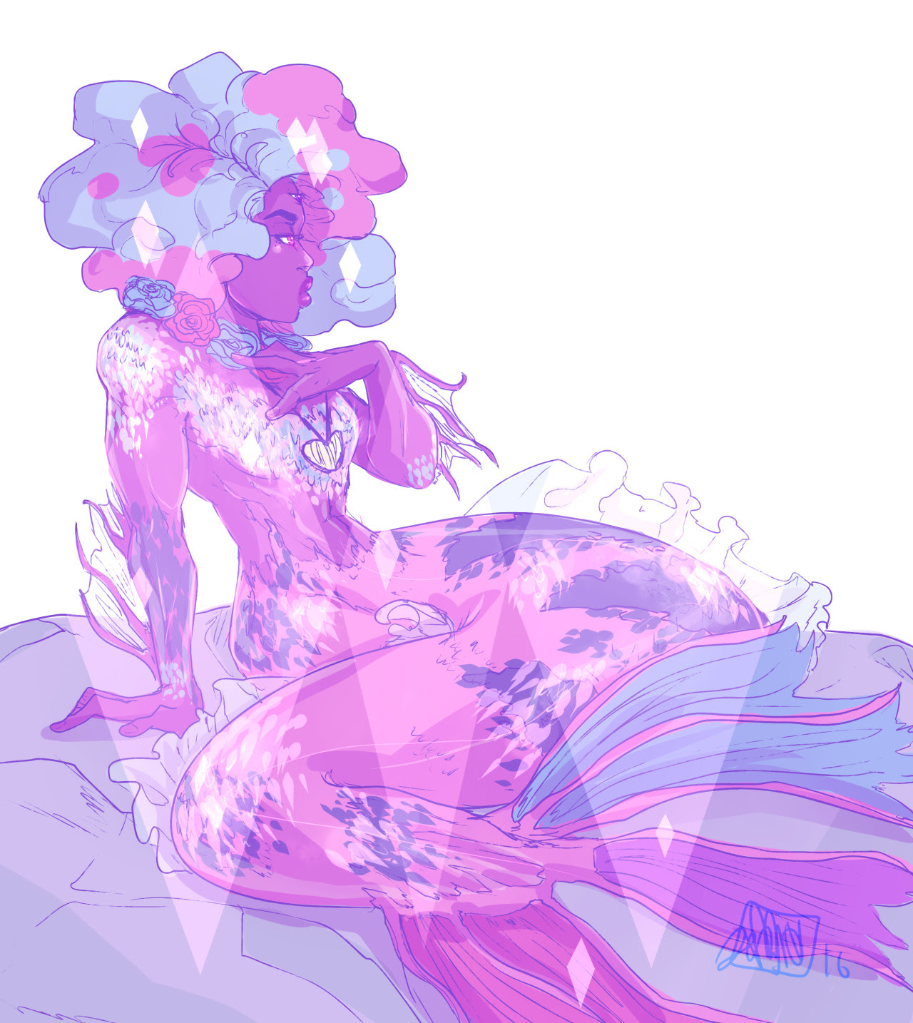Jumping in on the Mermaid fusion bandwagon started by @l-sula-l and @atta by (of course) doing a Garnet one!