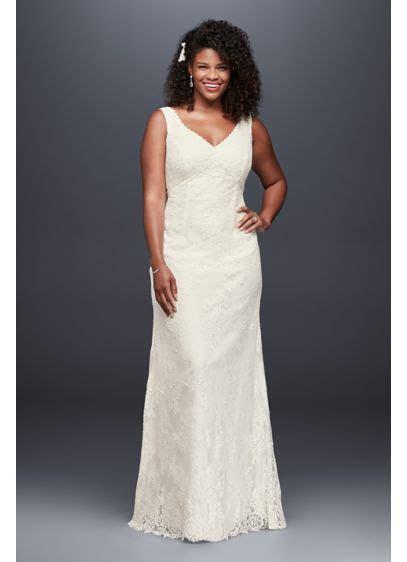 V Neck Plus Size Wedding Dress with Empire Waist   Davids