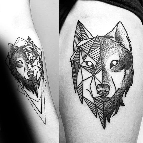 90 Geometric Wolf Tattoo Designs For Men Manly Ink Ideas