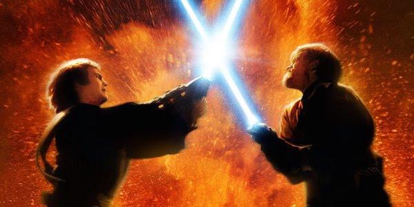 Star Wars Anakin and Obi-wan lightsaber duel