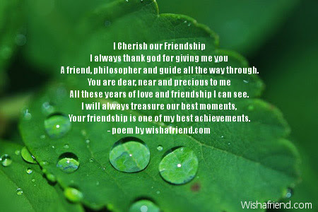 I Cherish Our Friendship Thank You Poem