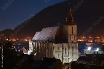 Great Black Church and Cathedral at night in Romania
