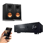 Yamaha R-S202 2-Channel Bluetooth Stereo Receiver Package with Klipsch RP-150M Bookshelf Speaker Pair (Ebony)