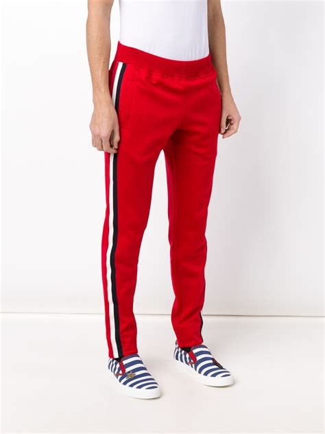 gucci striped panel track pants  red  men lyst
