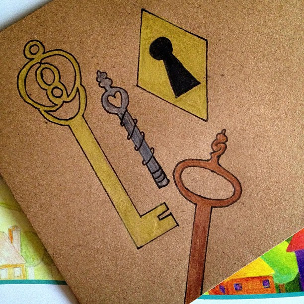 Day 10: secret, nothing beats a hidden #secret behind closed doors! #keys #antique #vintage #keyhole #envelope #snailmail #snailmailrevolution #doodleaday #doodle #doodleadayapril