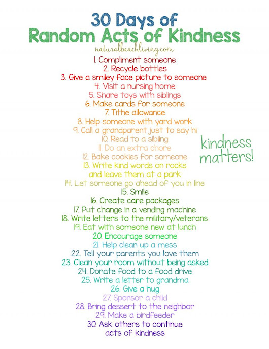 30 Days of Random Acts of Kindness Ideas for Kids - Natural Beach Living