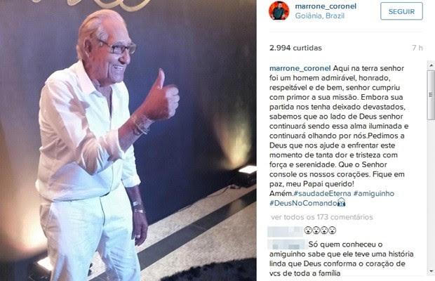 Cantor Marrone lamenta a morte do pai na web, Goiás (Foto: Reprodução/Instagran)