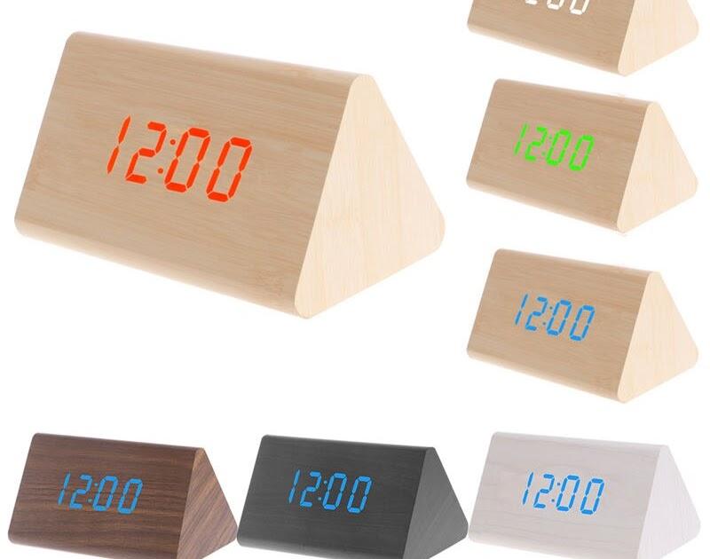 a7803f3e5fc Comprar Controle De Voz Relógio Mesa Moderna Madeira LED Alarm Clock  Display Com Cabo USB Triangular Termômetro Digital Temporizador Presente  Criativo ...
