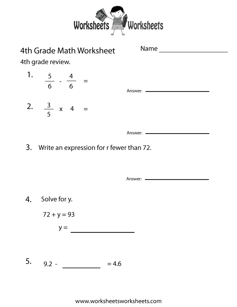 fourth grade math practice worksheet printable