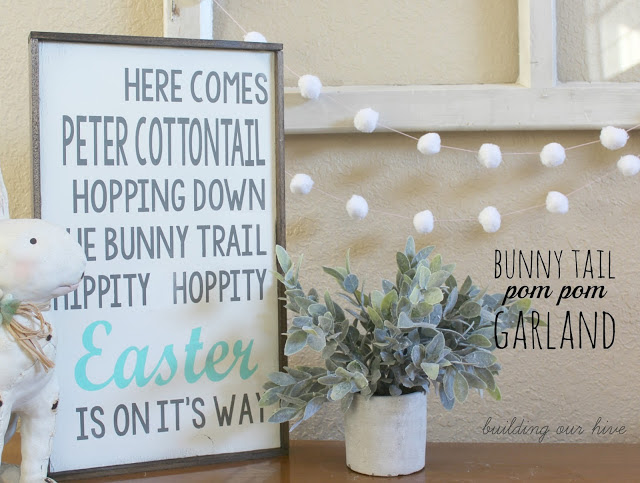 Building Our Hive Bunny Tail Pom Pom Garland With just a few supplies you can make this cute garland for Easter