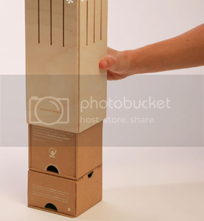 Sliding the wooden structure of Wine-Box-Lamp