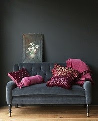 Love this couch, and the charcoal and pink color scheme!