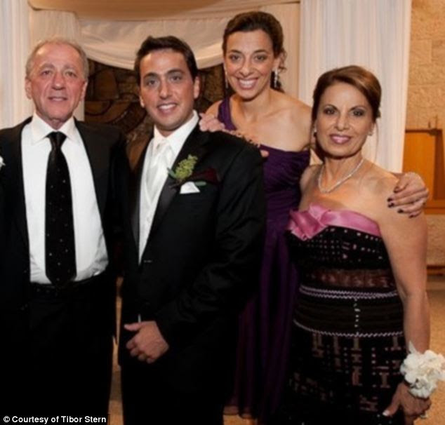 Justice: Tibor Stern (left, with Sharon, her mother Hana and her brother at his wedding in 2010) has filed a wrongful death lawsuit in Broward County, Florida, against Katsura Kan - real name is Terugoshi Kotoura