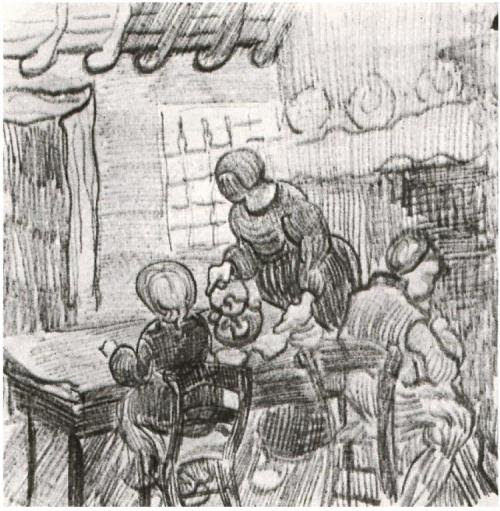 """child and woman pouring coffee by Van Gogh. (via """"Child and Woman Pouring Coffee"""" by Vincent Van Gogh 